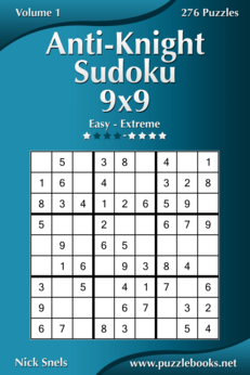 Anti-Knight Sudoku 9x9 - Easy to Extreme - Volume 1 - 276 Puzzles