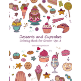 Desserts and Cupcakes Coloring Book for Grown-Ups 2