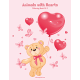 Animals with Hearts Coloring Book 1 & 2