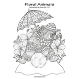 Floral Animals Coloring Book for Grown-Ups 1 & 2