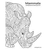 Mammals Coloring Book for Grown-Ups 3 & 4