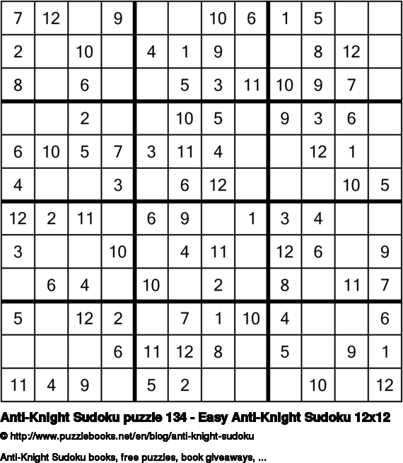 Anti-Knight Sudoku puzzle 134 - Easy Anti-Knight Sudoku 12x12