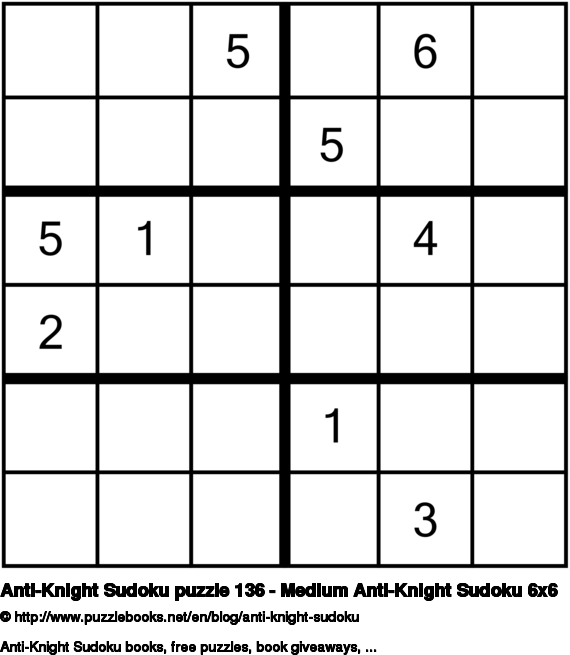 Anti-Knight Sudoku puzzle 136 - Medium Anti-Knight Sudoku 6x6