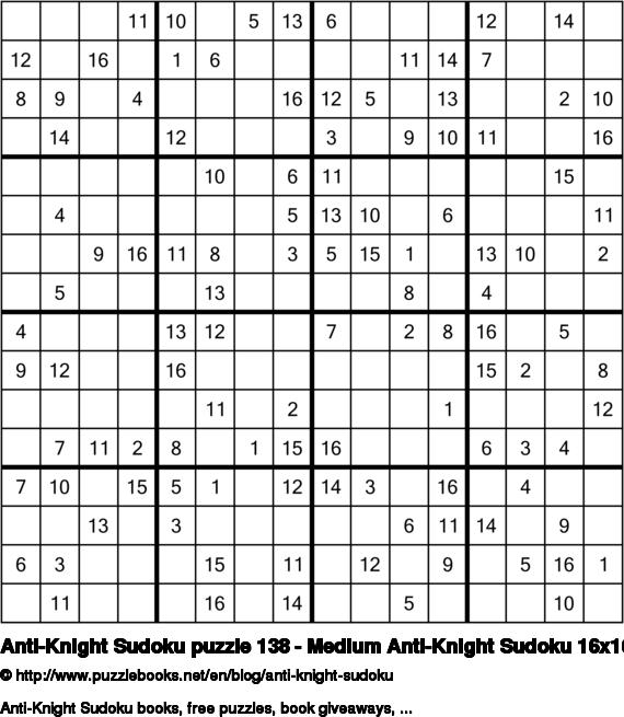 Anti-Knight Sudoku puzzle 138 - Medium Anti-Knight Sudoku 16x16