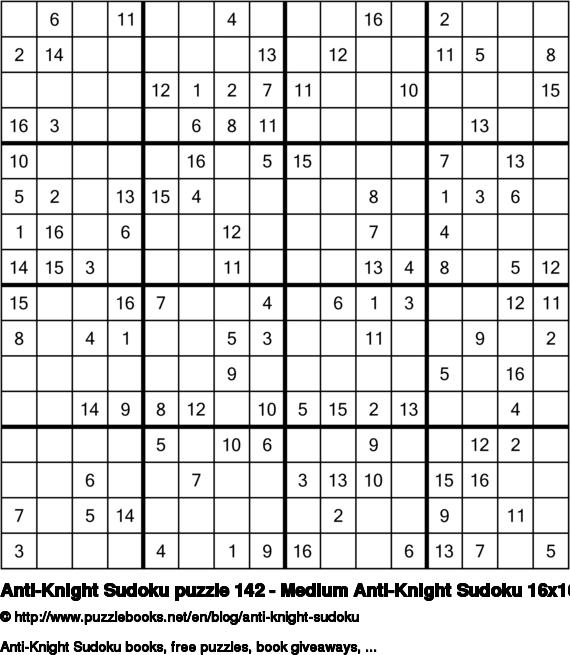 Anti-Knight Sudoku puzzle 142 - Medium Anti-Knight Sudoku 16x16