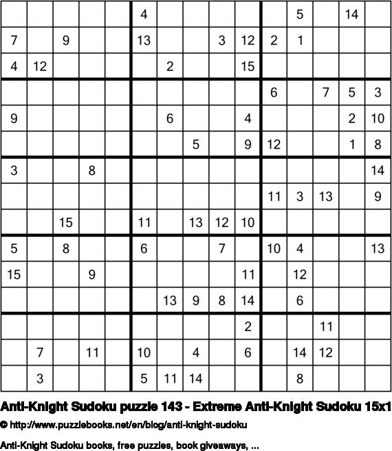 Anti-Knight Sudoku puzzle 143 - Extreme Anti-Knight Sudoku 15x15