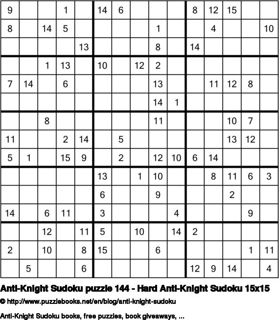 Anti-Knight Sudoku puzzle 144 - Hard Anti-Knight Sudoku 15x15