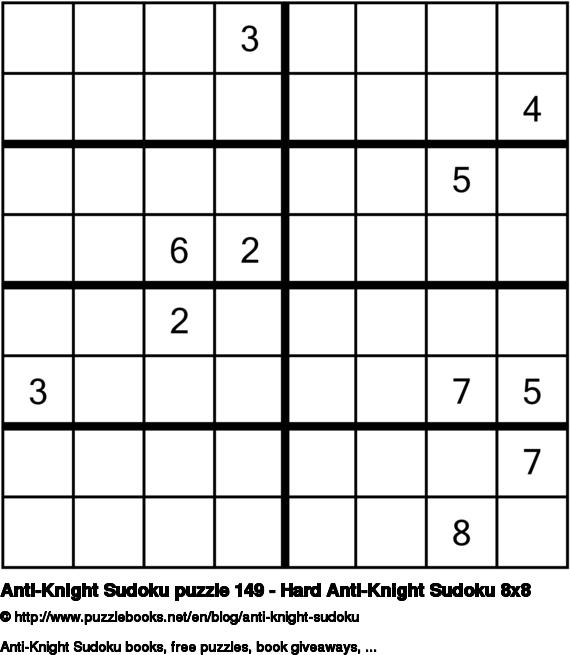 Anti-Knight Sudoku puzzle 149 - Hard Anti-Knight Sudoku 8x8
