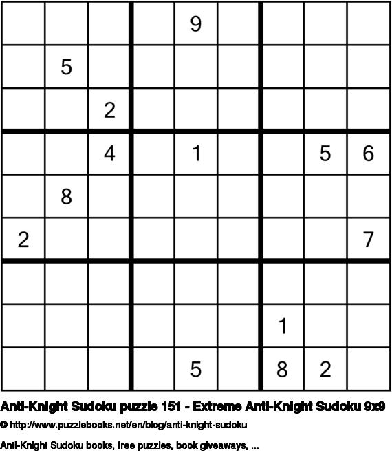 Anti-Knight Sudoku puzzle 151 - Extreme Anti-Knight Sudoku 9x9