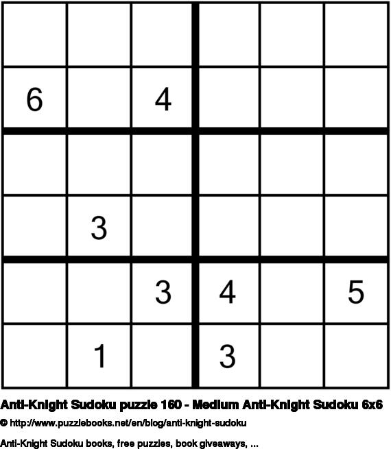 Anti-Knight Sudoku puzzle 160 - Medium Anti-Knight Sudoku 6x6