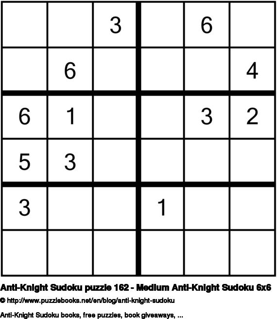 Anti-Knight Sudoku puzzle 162 - Medium Anti-Knight Sudoku 6x6