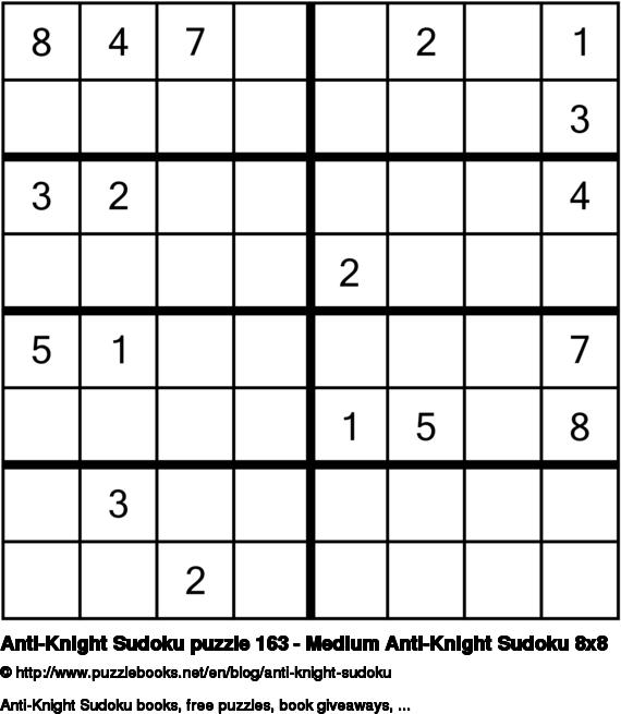 Anti-Knight Sudoku puzzle 163 - Medium Anti-Knight Sudoku 8x8