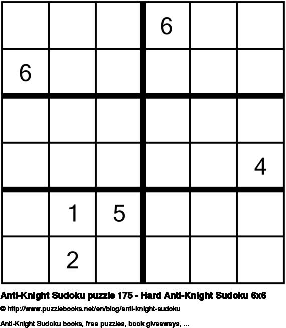 Anti-Knight Sudoku puzzle 175 - Hard Anti-Knight Sudoku 6x6