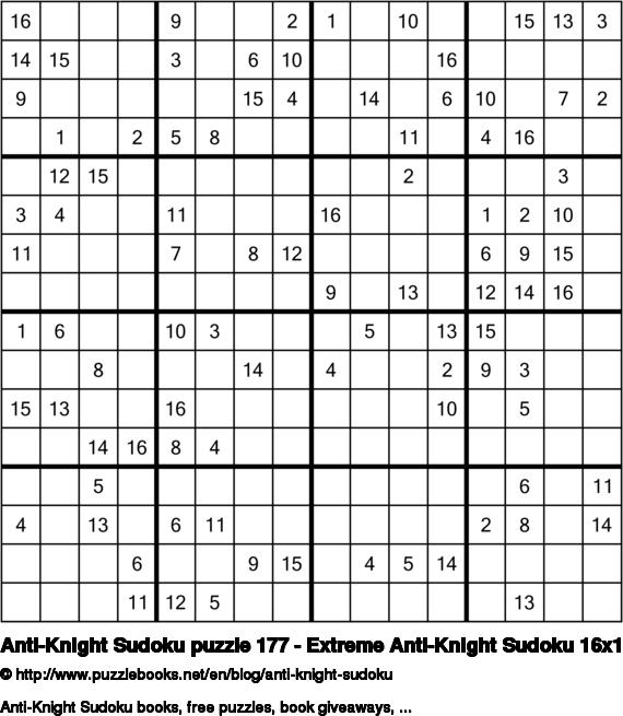 Anti-Knight Sudoku puzzle 177 - Extreme Anti-Knight Sudoku 16x16
