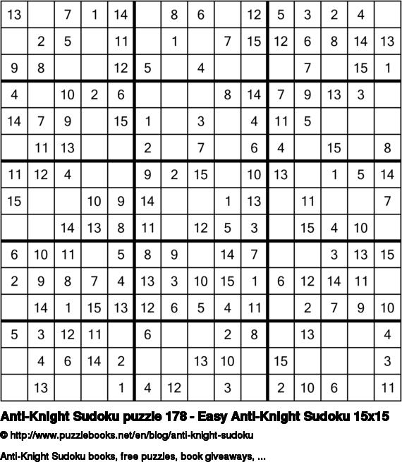 Anti-Knight Sudoku puzzle 178 - Easy Anti-Knight Sudoku 15x15