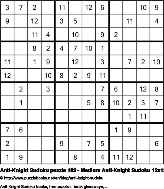 Anti-Knight Sudoku puzzle 182 - Medium Anti-Knight Sudoku 12x12