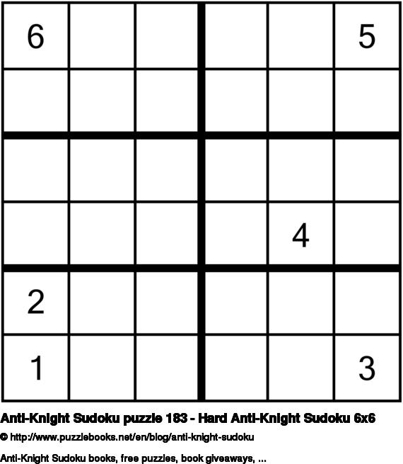 Anti-Knight Sudoku puzzle 183 - Hard Anti-Knight Sudoku 6x6