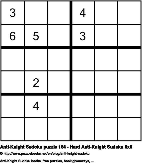 Anti-Knight Sudoku puzzle 184 - Hard Anti-Knight Sudoku 6x6