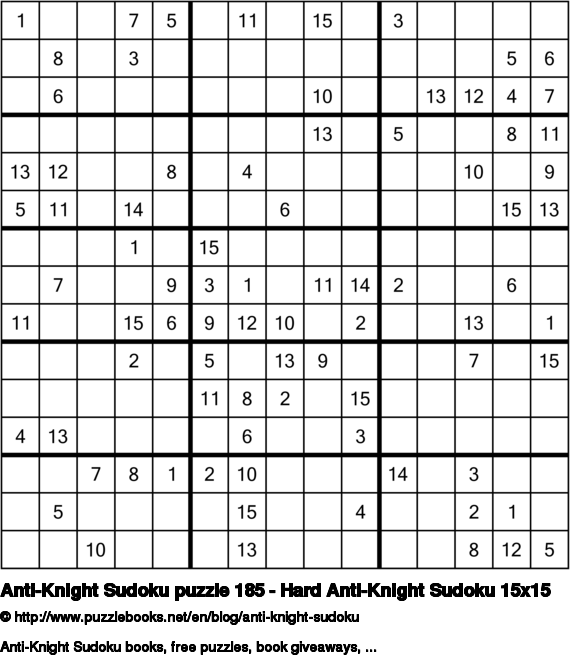 Anti-Knight Sudoku puzzle 185 - Hard Anti-Knight Sudoku 15x15
