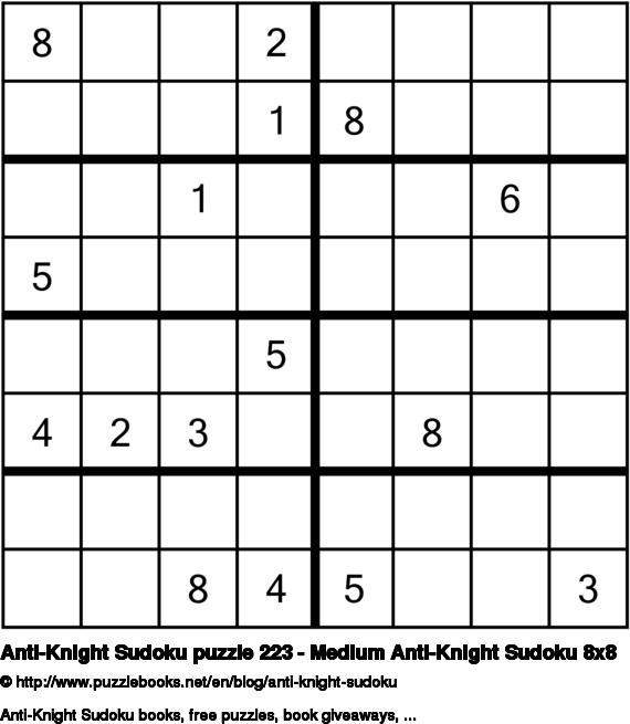 Anti-Knight Sudoku puzzle 223 - Medium Anti-Knight Sudoku 8x8