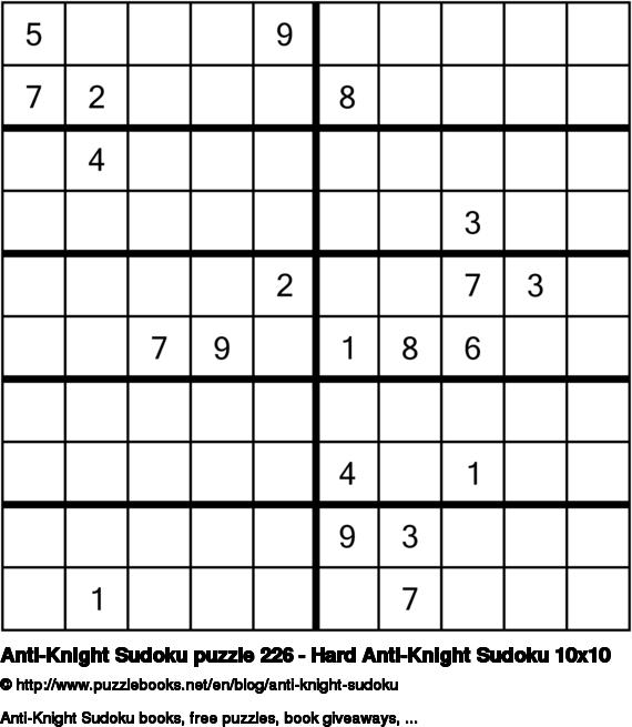 Anti-Knight Sudoku puzzle 226 - Hard Anti-Knight Sudoku 10x10