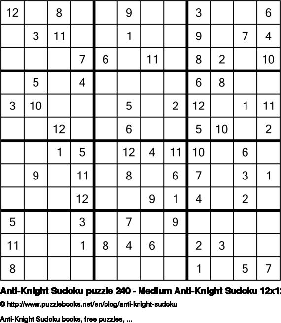 Anti-Knight Sudoku puzzle 240 - Medium Anti-Knight Sudoku 12x12