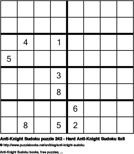 Anti-Knight Sudoku puzzle 242 - Hard Anti-Knight Sudoku 8x8