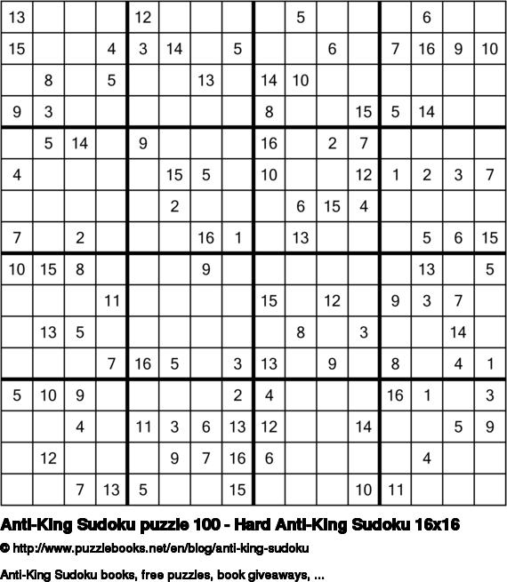 Anti-King Sudoku puzzle 100 - Hard Anti-King Sudoku 16x16