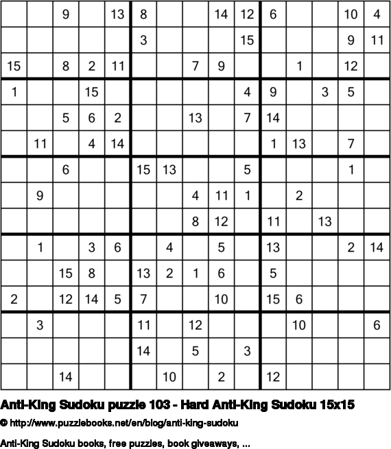 Anti-King Sudoku puzzle 103 - Hard Anti-King Sudoku 15x15