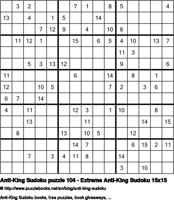 Anti-King Sudoku puzzle 104 - Extreme Anti-King Sudoku 15x15
