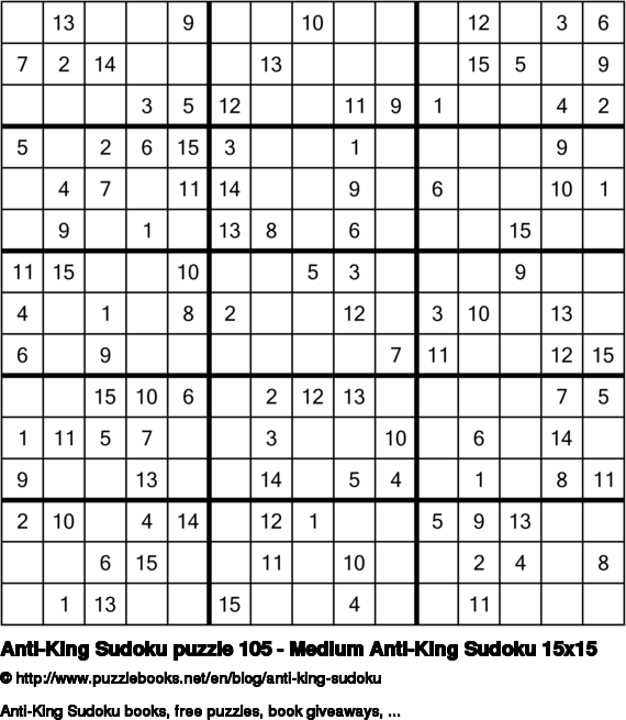 Anti-King Sudoku puzzle 105 - Medium Anti-King Sudoku 15x15