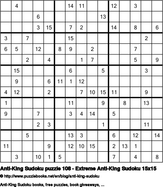 Anti-King Sudoku puzzle 108 - Extreme Anti-King Sudoku 15x15