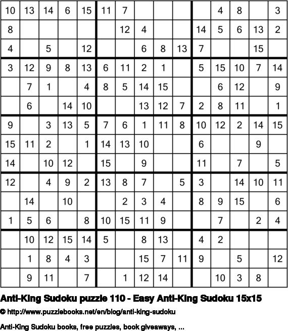 Anti-King Sudoku puzzle 110 - Easy Anti-King Sudoku 15x15
