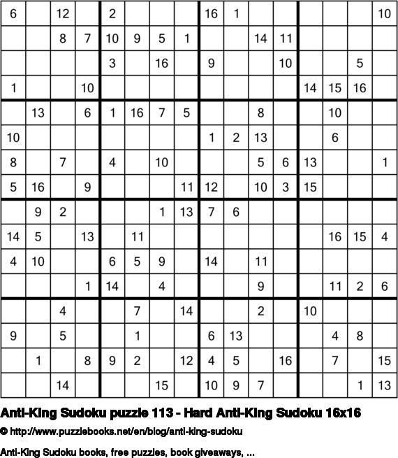 Anti-King Sudoku puzzle 113 - Hard Anti-King Sudoku 16x16