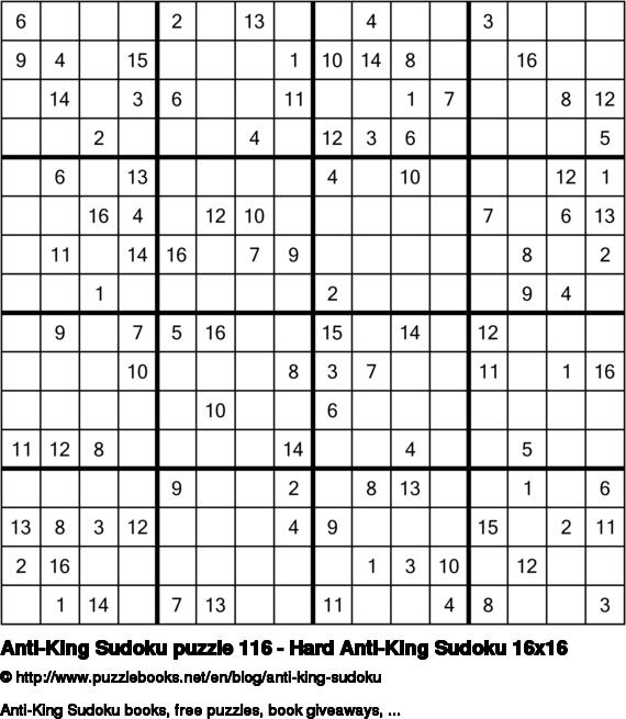 Anti-King Sudoku puzzle 116 - Hard Anti-King Sudoku 16x16