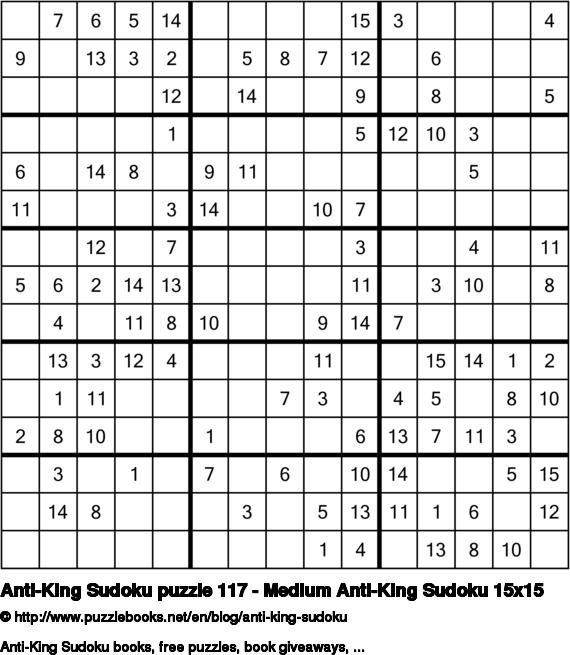 Anti-King Sudoku puzzle 117 - Medium Anti-King Sudoku 15x15