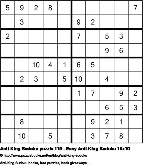 Anti-King Sudoku puzzle 119 - Easy Anti-King Sudoku 10x10
