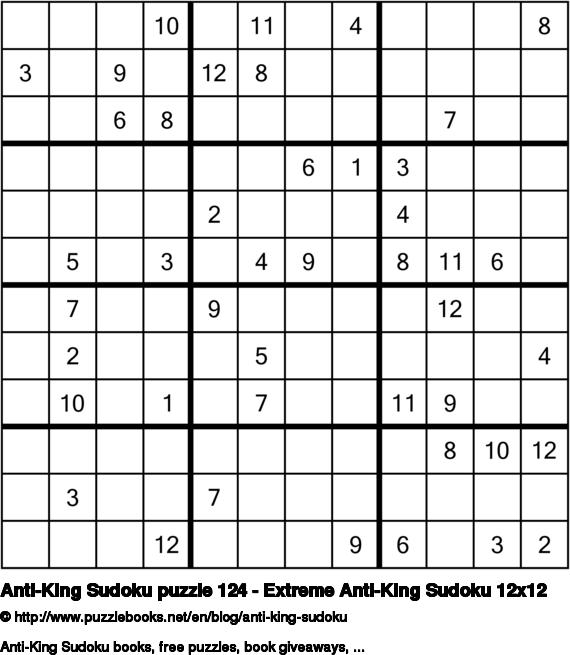Anti-King Sudoku puzzle 124 - Extreme Anti-King Sudoku 12x12