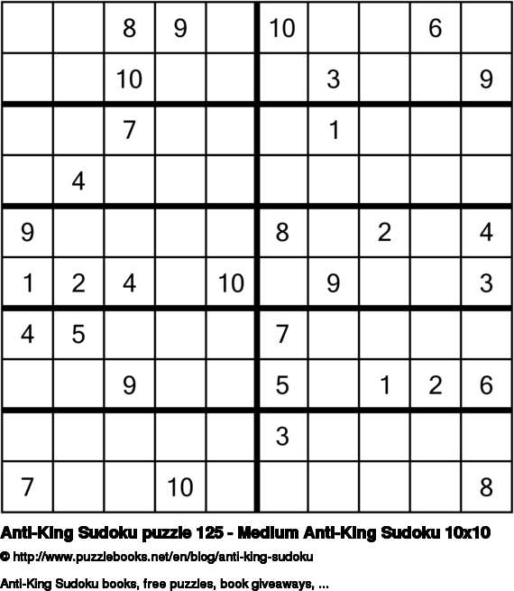 Anti-King Sudoku puzzle 125 - Medium Anti-King Sudoku 10x10