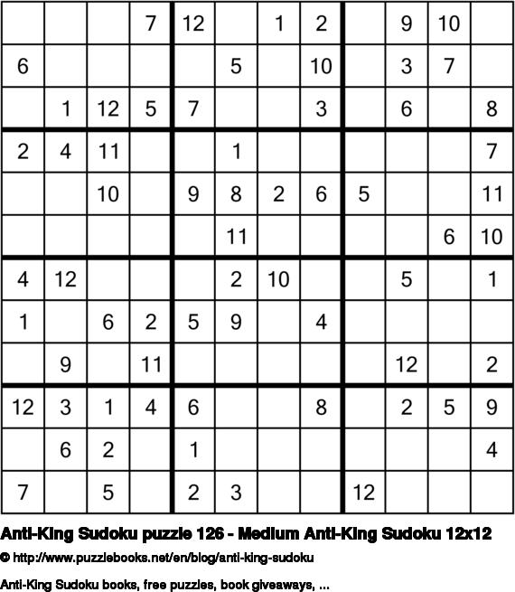 Anti-King Sudoku puzzle 126 - Medium Anti-King Sudoku 12x12