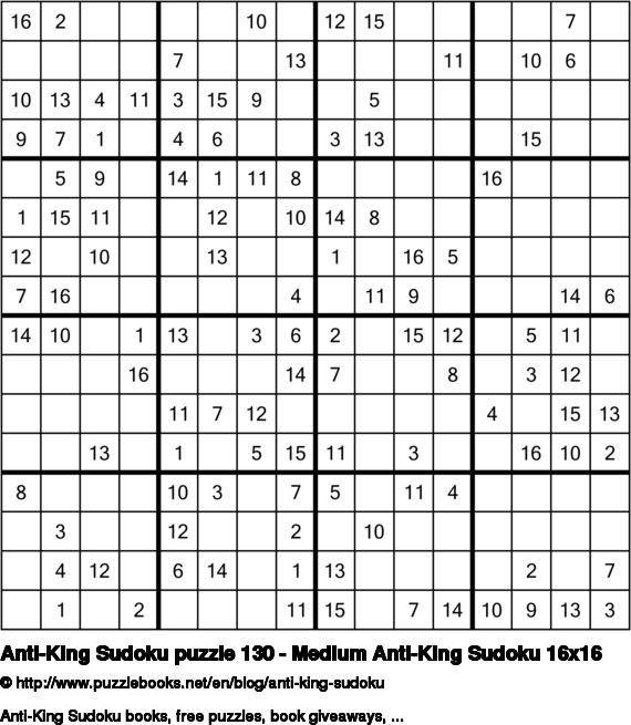 Anti-King Sudoku puzzle 130 - Medium Anti-King Sudoku 16x16