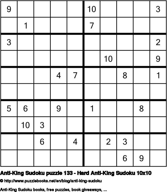 Anti-King Sudoku puzzle 133 - Hard Anti-King Sudoku 10x10