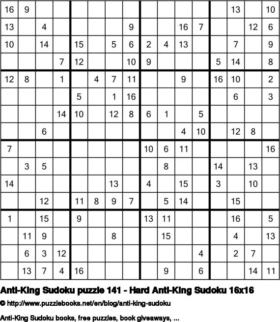 Anti-King Sudoku puzzle 141 - Hard Anti-King Sudoku 16x16