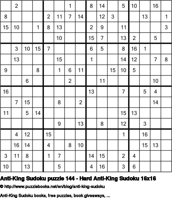 Anti-King Sudoku puzzle 144 - Hard Anti-King Sudoku 16x16