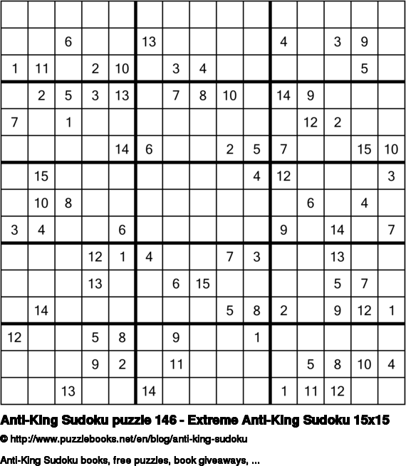 Anti-King Sudoku puzzle 146 - Extreme Anti-King Sudoku 15x15