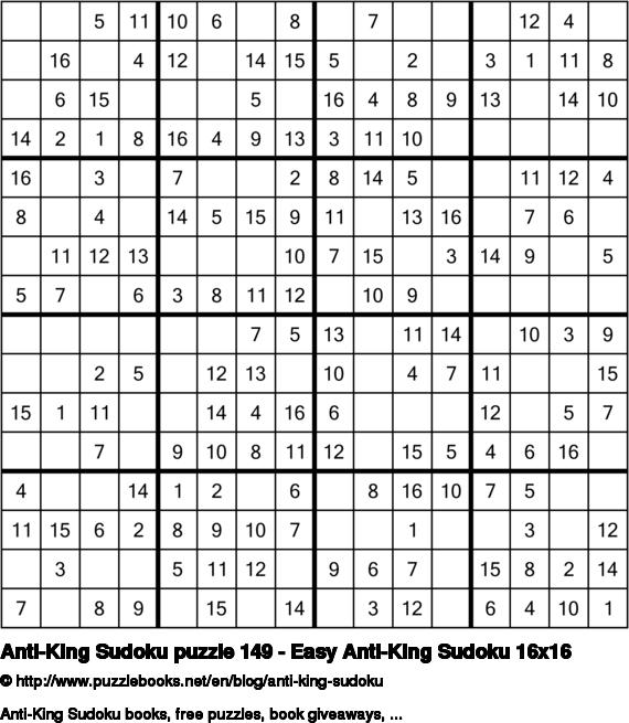 Anti-King Sudoku puzzle 149 - Easy Anti-King Sudoku 16x16