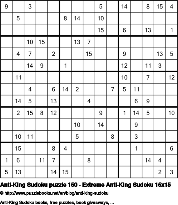 Anti-King Sudoku puzzle 150 - Extreme Anti-King Sudoku 15x15