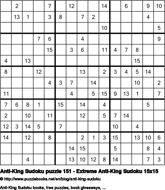 Anti-King Sudoku puzzle 151 - Extreme Anti-King Sudoku 15x15