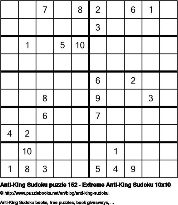 Anti-King Sudoku puzzle 152 - Extreme Anti-King Sudoku 10x10