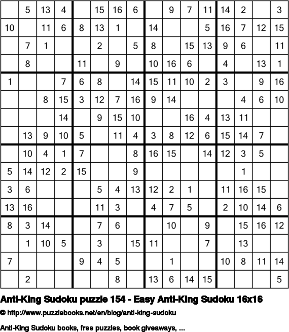 Anti-King Sudoku puzzle 154 - Easy Anti-King Sudoku 16x16